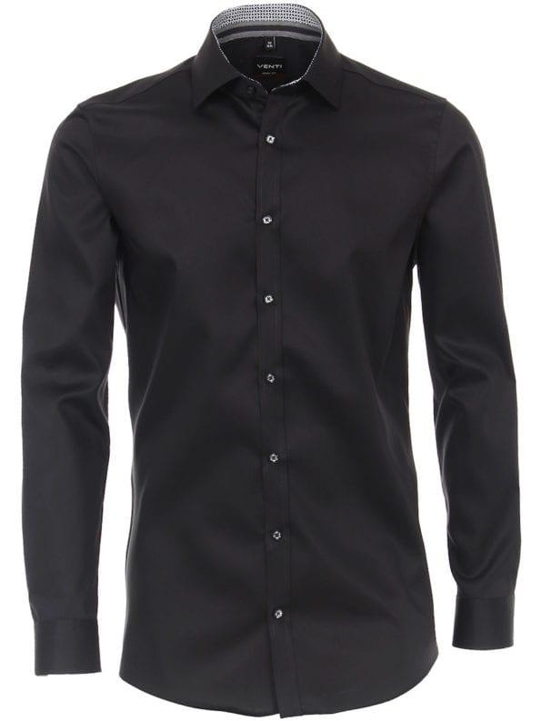 Venti overhemd zwart met motief in de kraag body fit met cute away boord 103522600-800 (1)