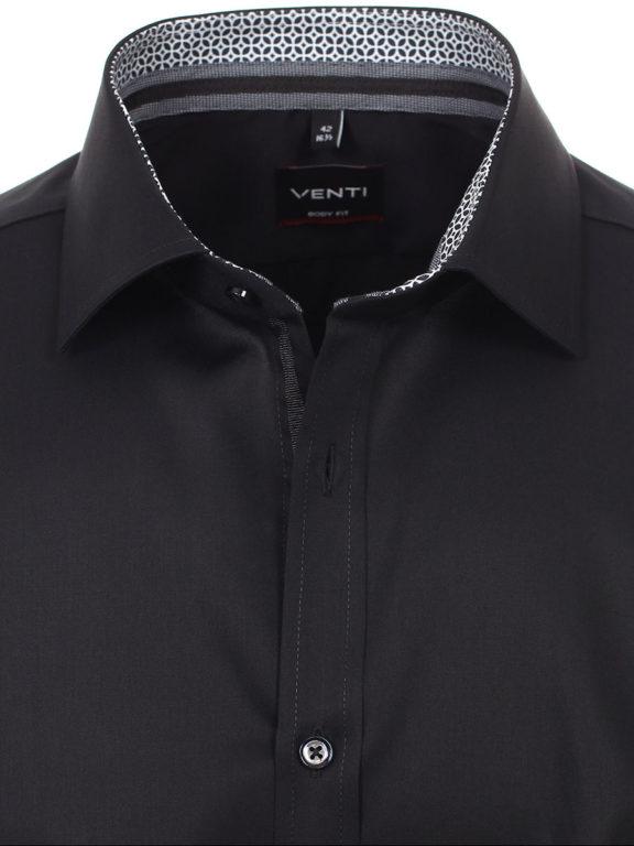 Venti overhemd zwart met motief in de kraag body fit met cute away boord 103522600-800 (3)