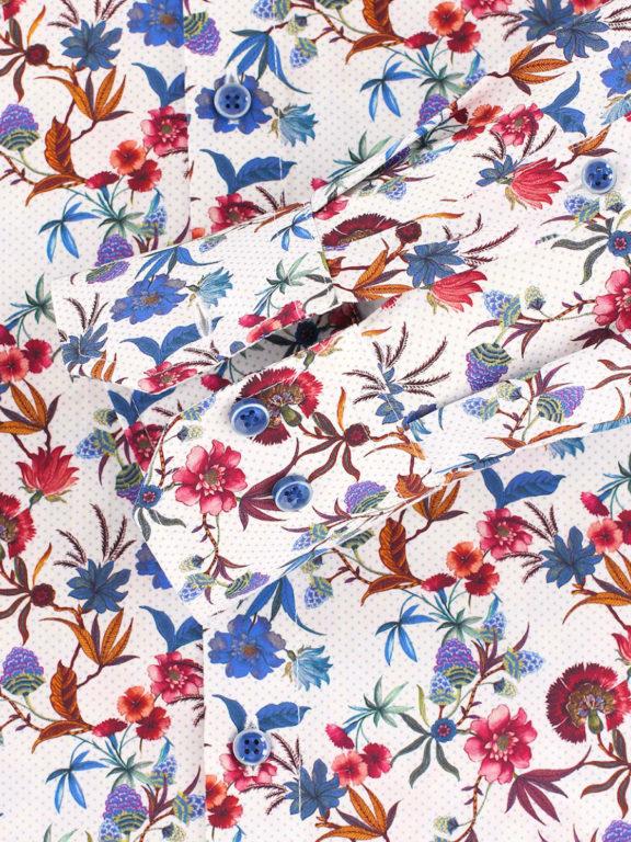 Venti bloemen overhemd blauw modern fit en cute away boord 103498600-100 (1)