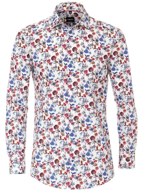 Venti bloemen overhemd blauw modern fit en cute away boord 103498600-100 (2)