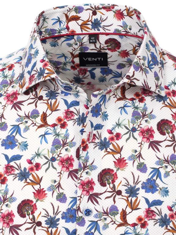 Venti bloemen overhemd blauw modern fit en cute away boord 103498600-100 (4)
