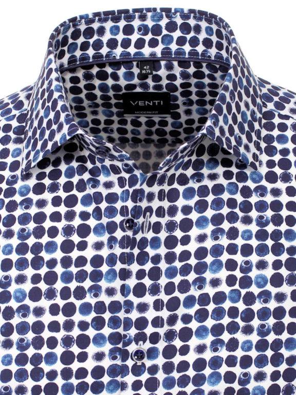 Venti overhemd blauw met blauwe bes motief modern fit en kent boord 103496800-100 (4)