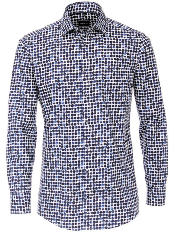 Venti overhemd blauw met blauwe bes motief modern fit en kent boord 103496800-100 (6)