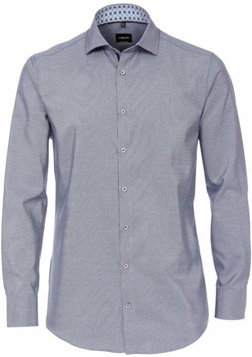 Venti overhemd blauw met fijn gemeleerd motief modern fit en cute away boord 103497300-100 (5)