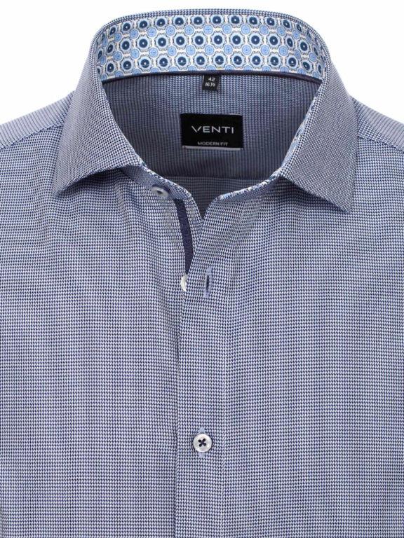 Venti overhemd blauw met fijn gemeleerd motief modern fit en cute away boord 103497300-100 (7)