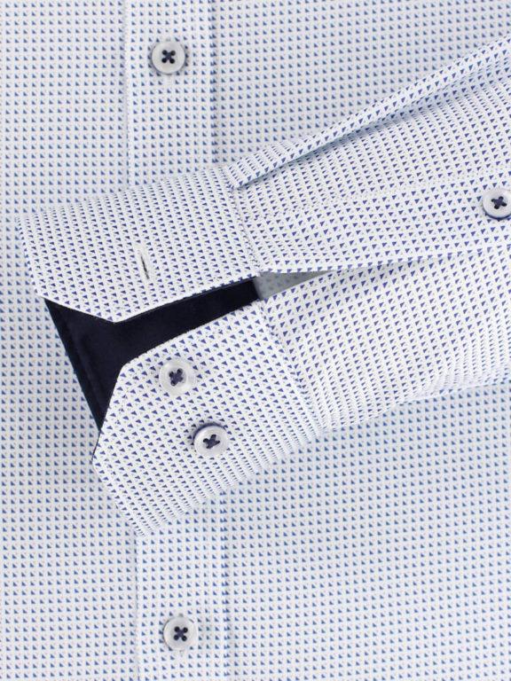 Venti overhemd dubbele boord blauw met fijn gemeleerd motief modern fit 103499500-100 (5)
