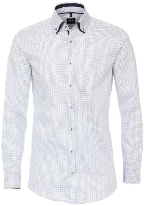 Venti overhemd dubbele boord blauw met fijn gemeleerd motief modern fit 103499500-100 (6)
