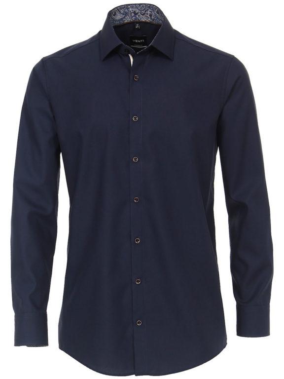 Venti overhemd effen blauw modern fit en kent boord 103497500-116 (2)