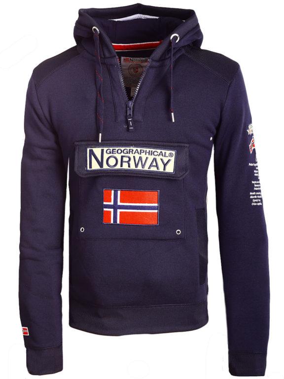 Geographical Norway Hoodie met capuchon blauw met opbergvak Gymclass (1)