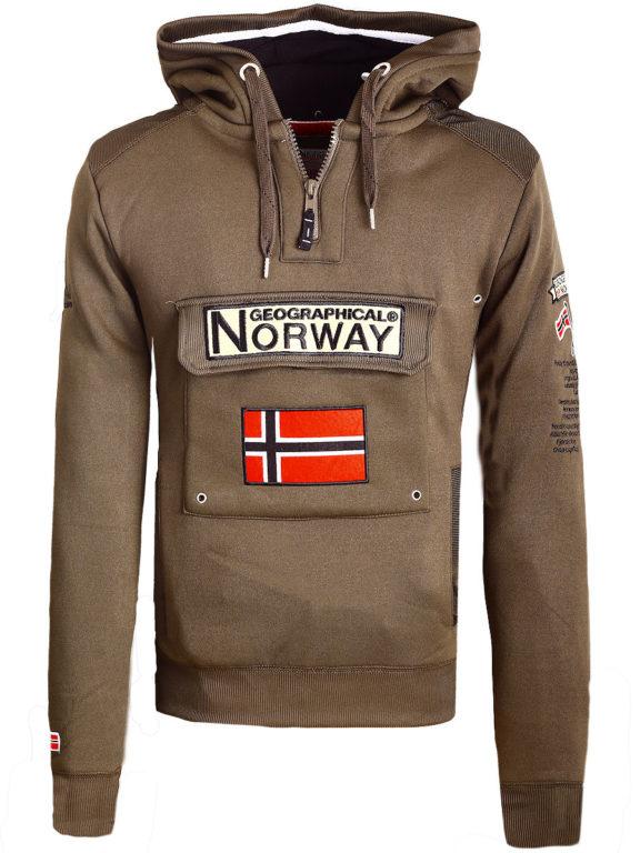 Geographical Norway Hoodie met capuchon bruin met opbergvak Gymclass (1)