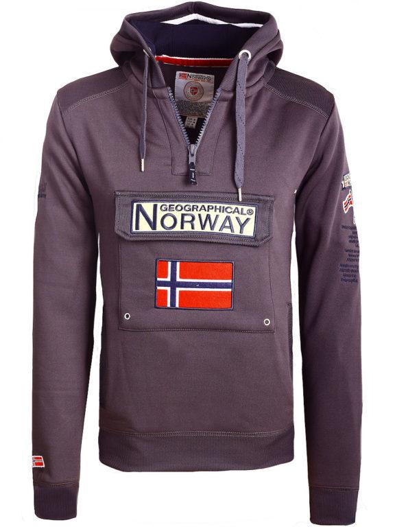 Geographical Norway Hoodie met capuchon donkergrijs met opbergvak Gymclass (2)