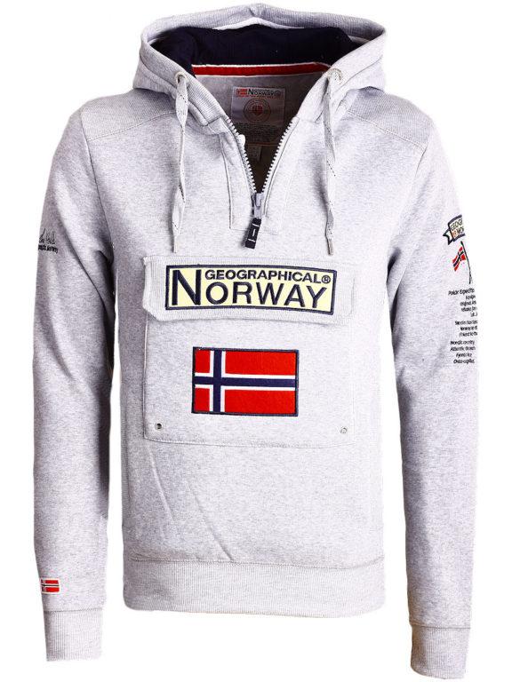 Geographical Norway Hoodie met capuchon grijs met opbergvak Gymclass (1)
