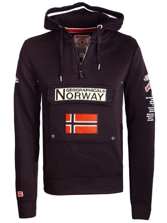Geographical Norway Hoodie met capuchon zwart met opbergvak Gymclass (1)