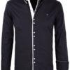 Heren-blouse-lange-mouw-vierkante-knoopjes-Carisma-8245-Zwart