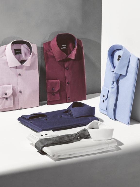 Venti overhemd blauw Modern fit strijkvrij kent kraag basis blouse opgevouwen