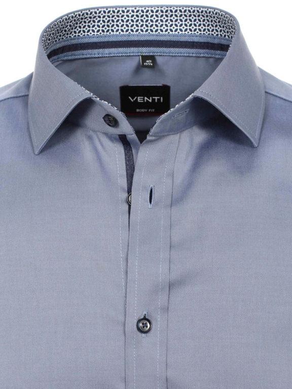 Venti overhemd blauw motief kent boord heren 103522600-100 (3)