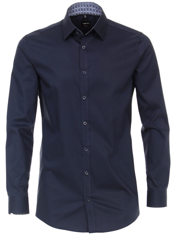 Venti overhemd blauw strijkvrij bodyfit of slimfit kent boord 103499900-116 (1)