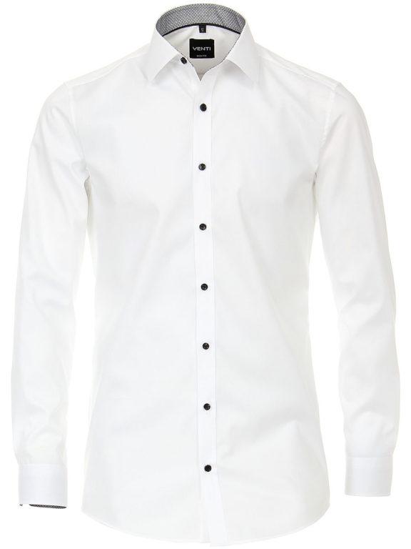 Venti overhemd wit kent boord met zwart motief heren 193295600-001 (2)