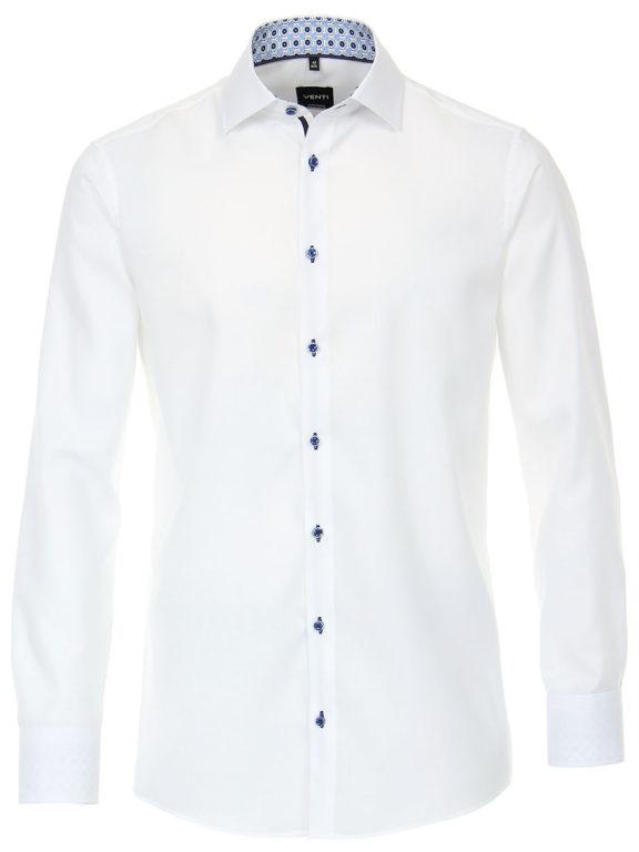 Venti overhemd wit strijkvrij modern fit kent boord 103497100-000 (2)