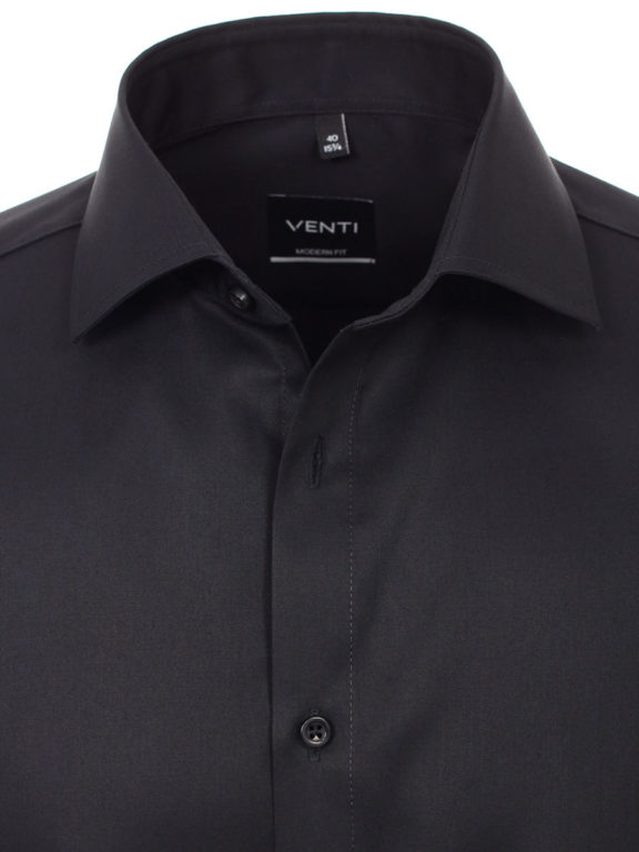 Venti overhemd zwart basis kent boord heren 001880-800 (4)