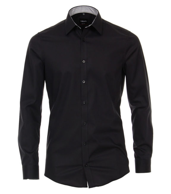 Venti overhemd zwart kent boord heren 193295600-800 (2)
