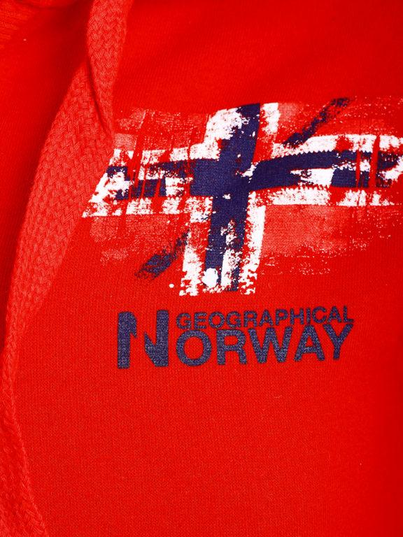 Geographical Norway vest met capuchon en print Rood Gardon (3)
