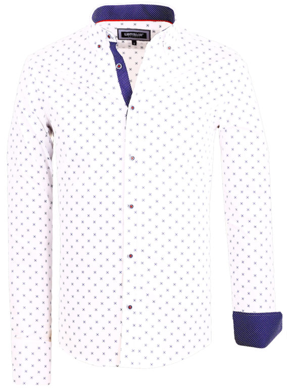 Slim fit heren overhemd wit met motief Carisma shirts 8499 (2)