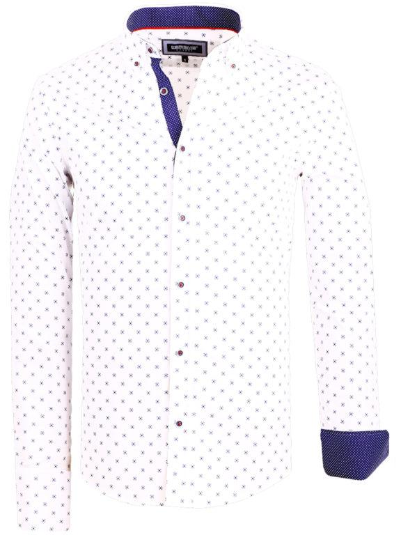 Slim fit heren overhemd wit met motief Carisma shirts 8499 (2)