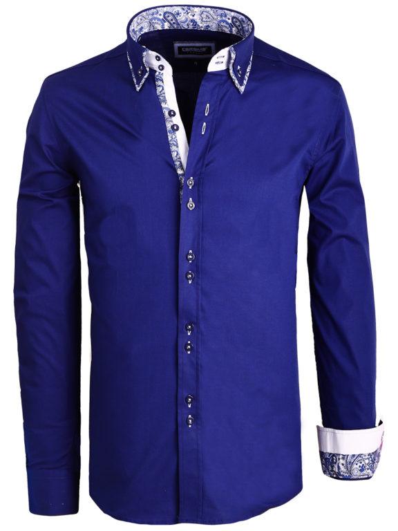 Overhemd dubbele kraag blauw carisma shirt met stretch 8492 (2)