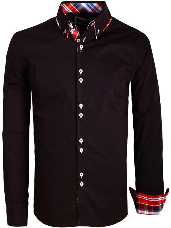 Overhemd dubbele kraag zwart Carisam shirts met strech H-110 (6)