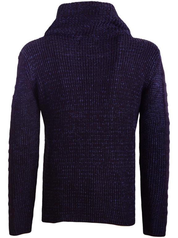 Sjaalkraag trui gebreide truien heren Carisma blauw 7654 (1)