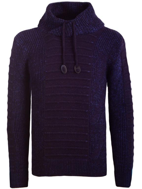 Sjaalkraag trui gebreide truien heren Carisma blauw 7654 (2)