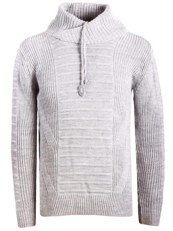 Sjaalkraag trui gebreide truien heren Carisma grijs 7654 (1)