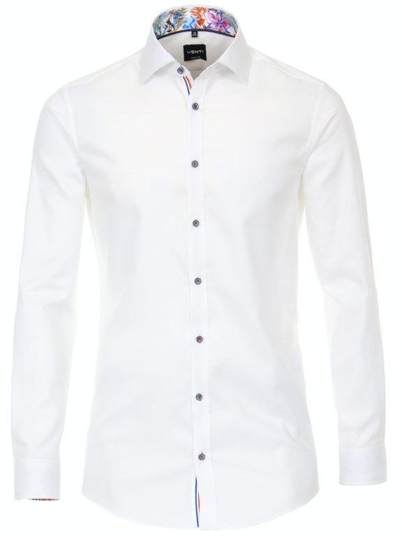 Venti overhemd wit met bloemenkraag body fit kent kraag 113604600 (3)