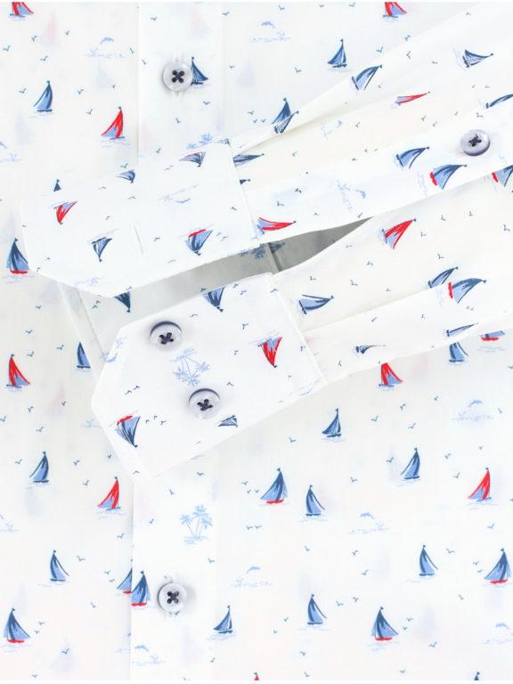 Venti overhemd wit met bootjes motief modern fit nautical shirt 113602800 (1)