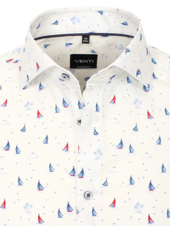 Venti overhemd wit met bootjes motief modern fit nautical shirt 113602800 (2)