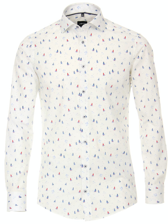 Venti overhemd wit met bootjes motief modern fit nautical shirt 113602800 (3)