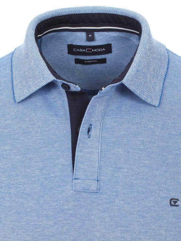 Casa Moda polo shirt effen blauw met logo op de borst 004470 (2)