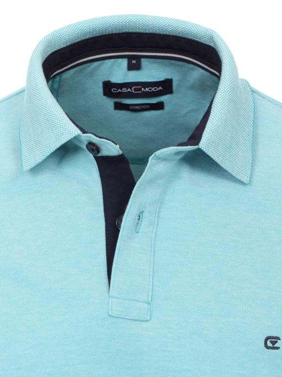 Casa Moda polo shirt effen turquoise met logo op de borst 004470 (4)