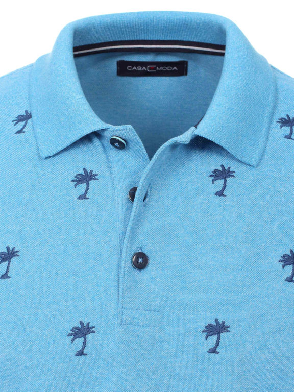 Casa Moda polo shirt palmboom motief blauw 903339800 (3)