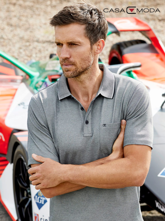 Casa Moda poloshirt grijs melange Audi sportlijn 993106500-439