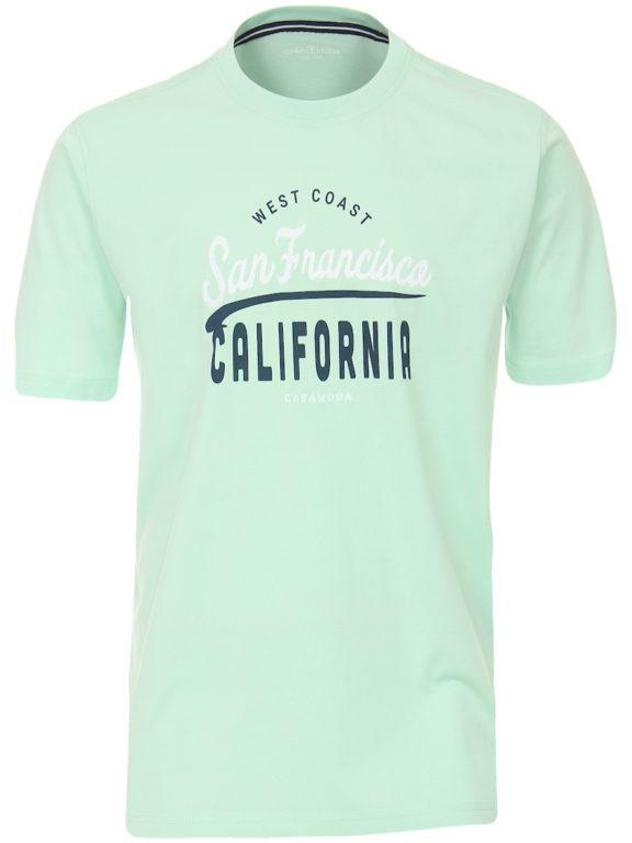 Casa Moda t-shirt turquoise ronde hals west coast California 913594100-363 Bendelli (6)