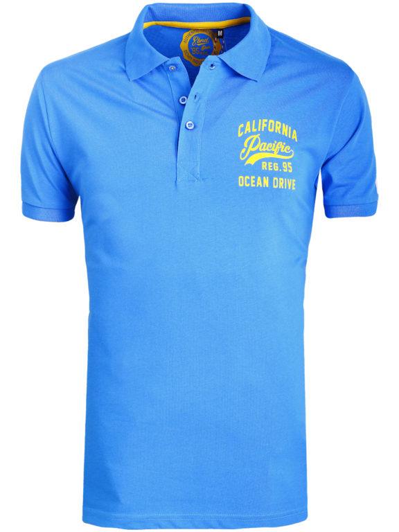 E-bound Polo Shirt Heren Met California Pacific Print Blauw 145930.H.PO (1)
