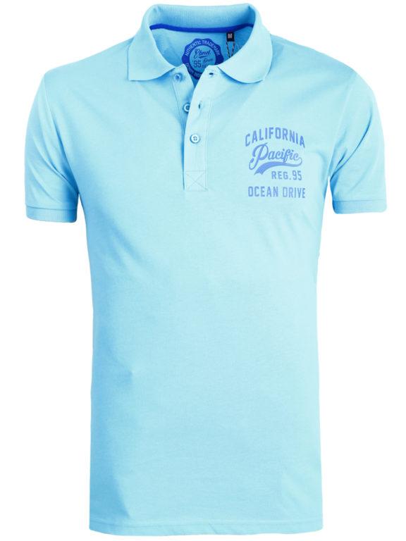 E-bound Polo Shirt Heren Met California Pacific Print Lichtblauw 145930.H.PO (2)