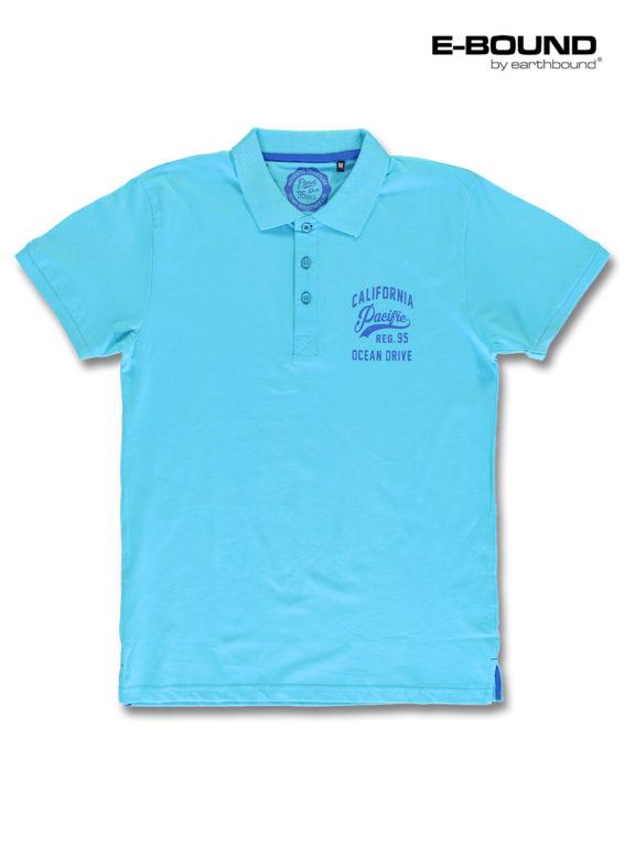 E-bound Polo Shirt Heren Met California Pacific Print Lichtblauw 145930.H.PO (3)