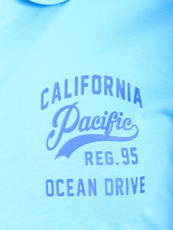 E-bound Polo Shirt Heren Met California Pacific Print Lichtblauw 145930.H.PO (4)