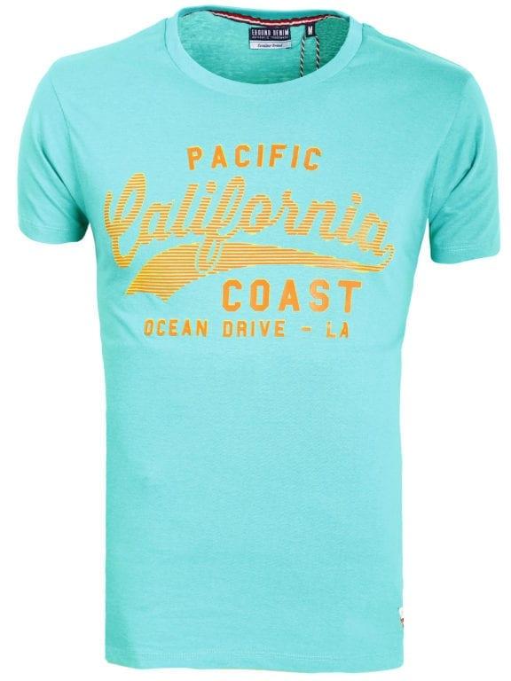 E-bound T-shirt Heren Met California Pacific Print Groen 145443.H.TS (1)