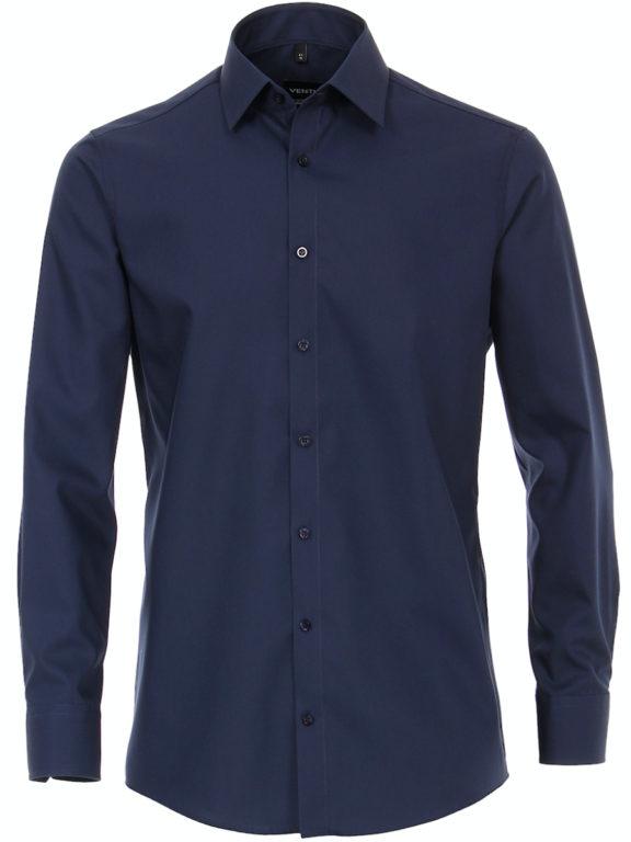 Venti overhemd blauw Modern fit strijkvrij kent kraag basis blouse 001480 (4)