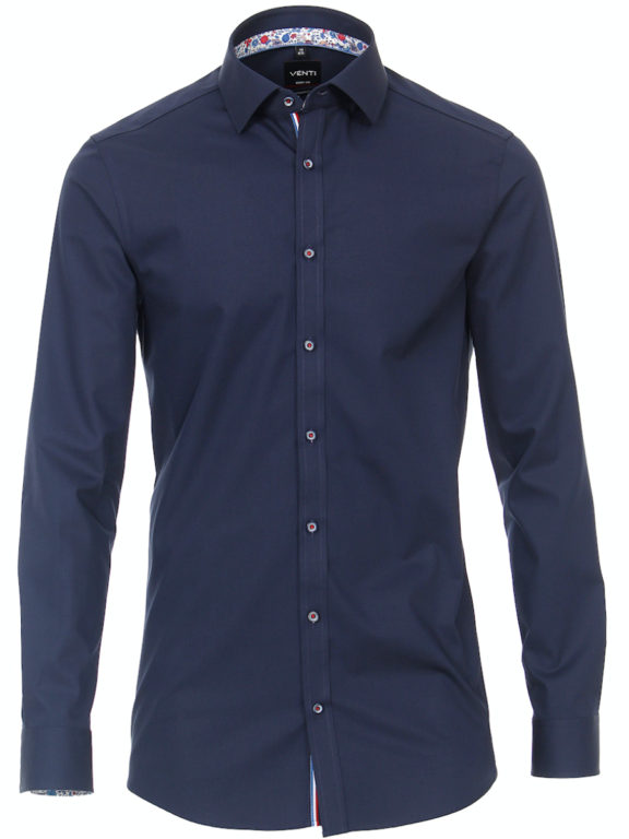 Venti overhemd blauw met bloemen motief Body fit strijkvrij kent kraag (2)
