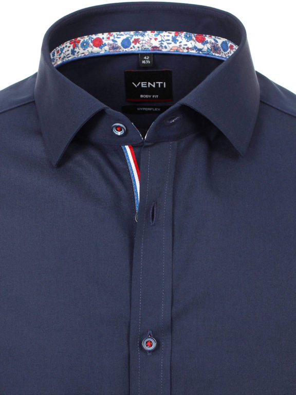 Venti overhemd blauw met bloemen motief Body fit strijkvrij kent kraag (4)